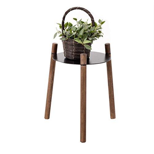 XZG Support à fleurs à trois pieds, trépied en chêne Plateau en fer forgé Multifonction Support à plantes Étagère chambre salon bureau installation simple Étagère de pot de plante (taille : 40CM)