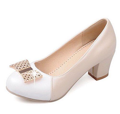 VogueZone009 Femme Pu Cuir à Talon Correct Couleurs Mélangées Tire Chaussures Légeres Beige