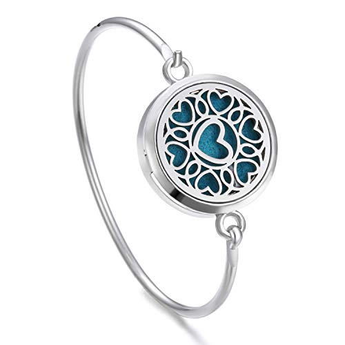 chmuck Geschenk,Tree of Life Locket Bracelet Bangle Christmas Stainless Steel Essential Oil Diffuser Perfume Aromatherapy Aromatherapy Bracelet 17 ()