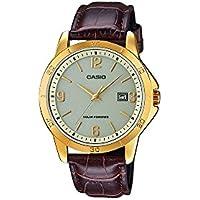 CASIO MTP-VS02GL-9A - Reloj de caballero analógico. Dorado y marrón. Solar