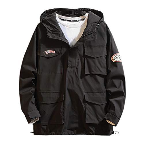 Herren Jacke Lässig Spleißen Langarm Mehrfachtaschen Brief Drucken Revers Outwear Mantel Sweatshirt(4XL,Schwarz 2)
