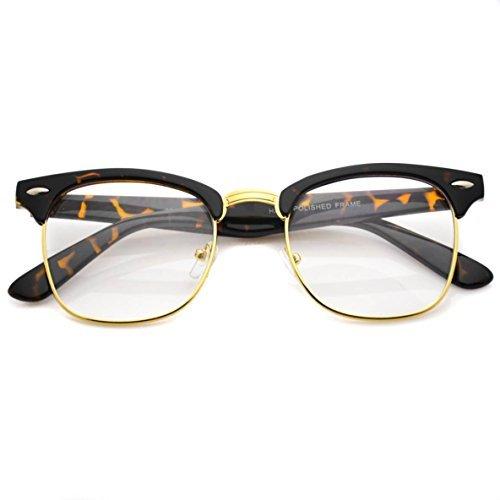 WearMe Pro Vintage-inspirierte klassische Halbrahmen-Brillen aus Horn und mit klaren Gläsern (Schildkröte/Gold)