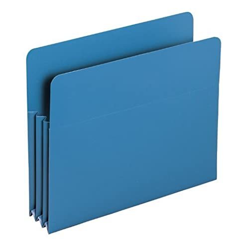 Expansion Drop Front File Pockets, Straight Tab, Poly, Letter, Blue, 4/Box