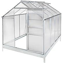 TecTake Invernadero de jardín policarbonato aluminio con ventana casero plantas cultivos - varios modelos - (250x190x195cm   no. 401828)