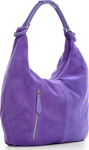 CNTMP, Borsa da Donna, Borsa a Spalla, Con Tasche, In Pelle Scamosciata, Con Tasca in Pelle, DIN-A4, 44 x 36 x 4 cm viola (orchidea)