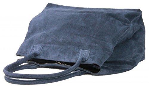 Made in Italy Damen Schultertasche Beuteltasche Shopper Wildleder Leder Bag, Farbe:Schwarz Dunkelblau