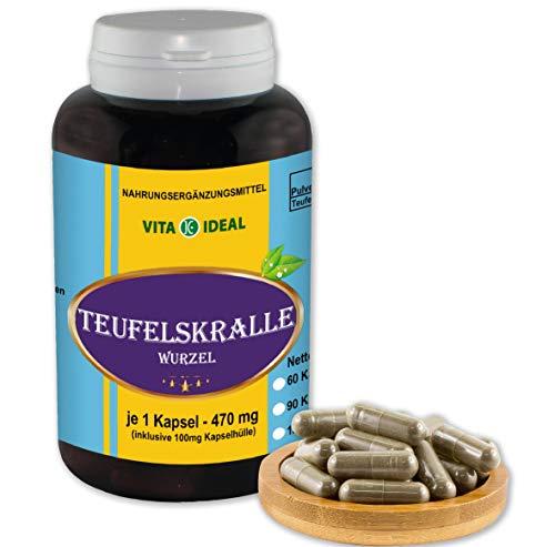 VITA IDEAL ® Teufelskralle-Wurzel (Harpagophytum procumbens, Devil's claw) 180 Kapseln je 470mg, aus rein natürlichen Kräutern, ohne Zusatzstoffe -