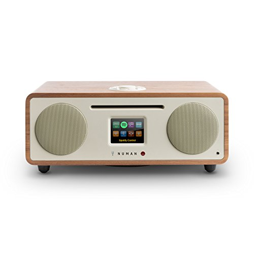 NUMAN Two 2.1 • Design Internet Radio • DAB/DAB+ / UKW-Tuner • CD-Player • Spotify Connect • TFT-Display • RDS • Wi-Fi/LAN • Bluetooth • AUX • 2 Breitbandlautsprecher • 30 Watt RMS • walnuss - W Cd-player Kassette