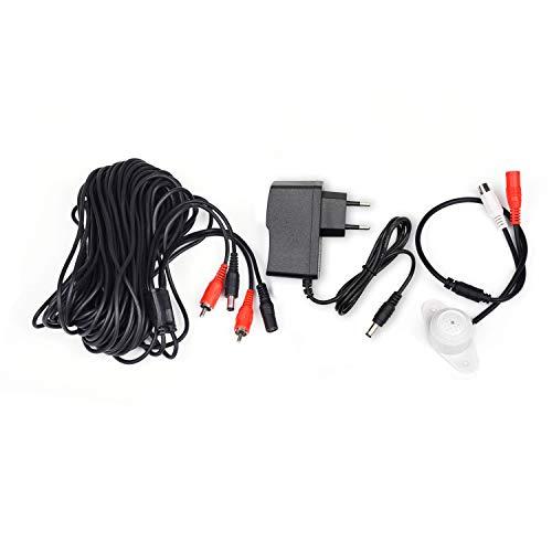 Tonton Audio Mic Mikrofon für Überwachungskamera CCTV-Mikrofon mit Vorverstärker für Überwachungskamera Ton Pickup für CCTV Kamera mit 20 Meter Kabel und Netzteil für Überwachungskamera Set