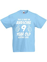 This Is What An Awesome 9 Year Old Looks Like - 9th Birthday Gift T-Shirt For Boys by LOLTOPS