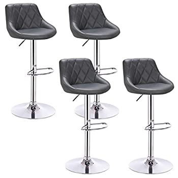 WOLTU Bar Stools Grey Bar Chairs Breakfast Dining Stools for Kitchen Island Counter Bar Stools Set of 4 pcs Leatherette Exterior/Adjustable Swivel Gas Lift/Chrome Steel Footrest & Base