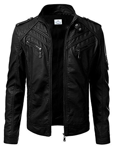 VearFit Premadure Bikerjacke aus schwarzem Kunstleder für Herren von normaler, großer und hoher Qualität (Zum Pfeil Verkauf Kapuze)
