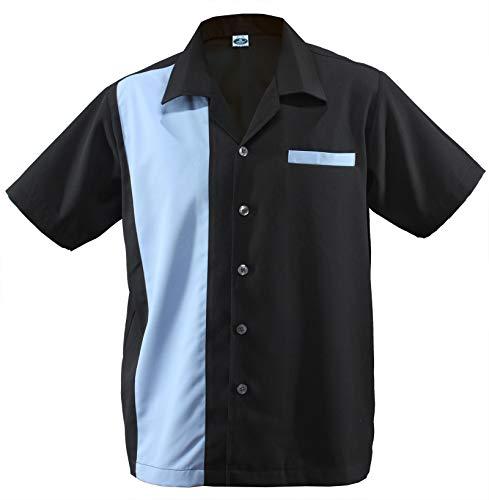 Herren Bowling Shirt Worker Hemd Rockabilly Two Tone Gabardine Lounge Fifties Vintage Retro Double Panel D660 (XXL/XX-Large, Schwarz/Blau)