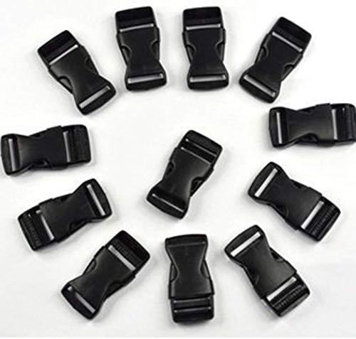 12 pcs black, 2,54 cm (25 mm) plastic Side release buckles