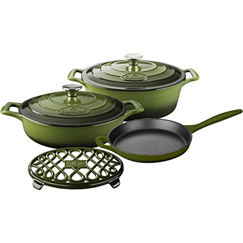 La Cuisine LC 2950 6 Piece Enameled Cast Iron Oval Casserole/Trivet Cookware Set, Olive Green - Cast Iron Oval Casserole