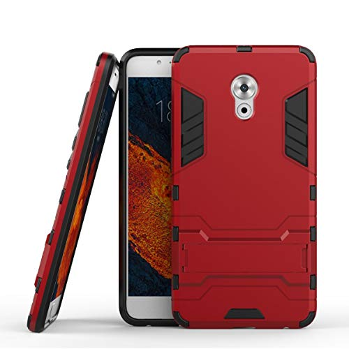 tinyue® Handyhülle für Meizu Pro 6 Plus, Hülle 2 in 1 Material Harte Schwer doppelte kratzfester Handyfall im Freienhandyfall Iron Man Rüstung mit Kickstand Case, Rot