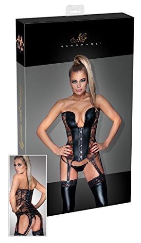Schwarz Handmade 26112361031Lingerie Sexy Kleidung Mieder-Strumpfband mit Spitze-Einsätzen