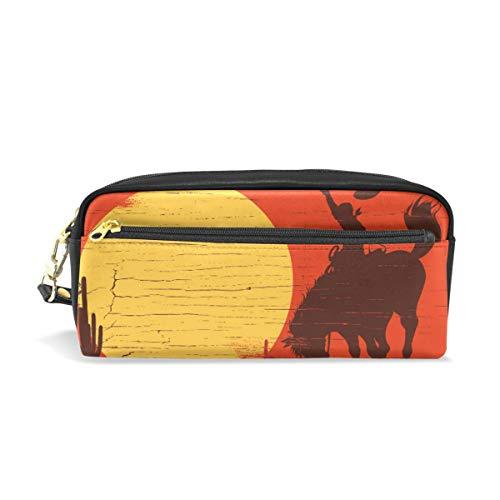 Federmäppchen Stationäre Kunst Westlichen Wüste Sonnenuntergang Cowboy Pferd Bleistift Taschen Tragbare Tasche für Schule Kinder Kinder Kosmetiktasche Make-Up Beauty Case (Pferd Stationär)