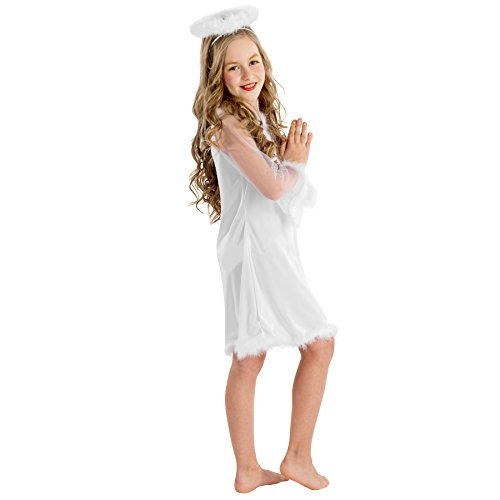 Girls-costume-Christkind-Short-playful-dress-See-through-trumpet-sleeves