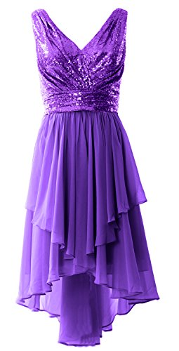 MACloth Women Straps V Neck Sequin Chiffon High Low Prom Dress Formal Party Gown Violett