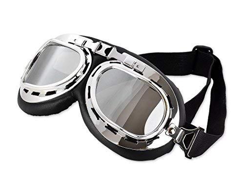 6b9689f68994e6 DSstyles Steampunk Aviator Pilot Style Motocyclettes Cruiser Scoop Goggles  avec lentilles de fumée, Vintage Cool
