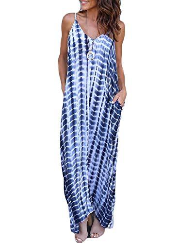 VONDA Damen Ärmellos Kleid Lose Maxikleid Casual Lange Sommerkleid Trägerkleid Schlangenblau L - Sommer-spaghetti-bügel-kleid