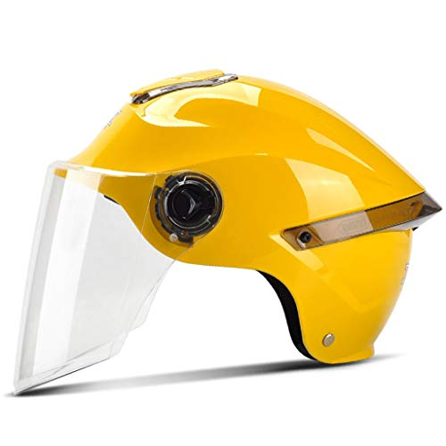 ZJJ Helm- Mode-Unisex-Helm, Fashion-Regen- und UV-Schutzhelm, HD-transparente Linse (Farbe : Gelb, größe : One Size)