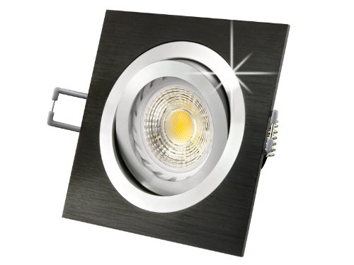 LED-Einbau-Strahler QF-2 schwenkbar, Einbau-Leuchte Aluminium gebürstet schwarz eloxiert, SMD LED 3,5W warm-weiß, GU10 230V, wie 35W Halogen, [IHRE VORTEILE: einfacher EINBAU, hervorragende LEUCHTKRAFT, LICHTQUALITÄT und VERARBEITUNG] (Schwarz Eloxiertes Licht Warm Weiss)
