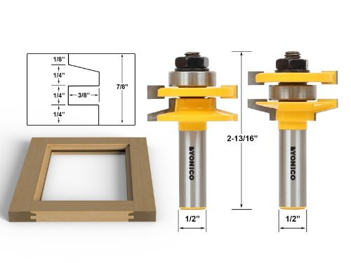 Yonico 12247 2 Bit Rail and Stile Router Bit Set with Bevel 1/2-Inch Shank by Yonico -