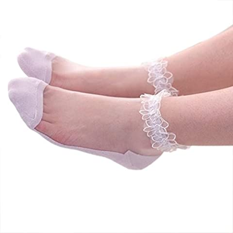 Damen Socken Transer® Baumwolle Gemischt Wärmer Rutsch Zehensocken Ultradünne Transparente Spitze Socken Größe: 23cm (Gestreifte Verbandsmull)