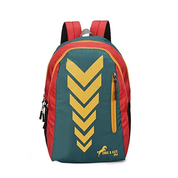 Chris & Kate Polyester Spacious & Comfortable 30 L Green-Red Bag - Casual Backpack - 15.6 Inch Laptop Bag - School Bag - College Bag