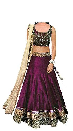 Dream Note Girl's Net Multi-Coloured Lehenga Choli (Baby Beauty Purple_Free Size)