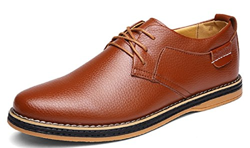 Men's High Quality Soft Leather Low Top Oxfords Shoes 1882 Brown