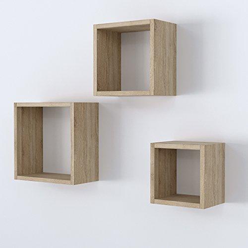 Vicco Wandregal 3er Set - 3 Größen Deko Würfelregal Holz Hängeregal Cube Büroregal CD Buch Sonoma Eiche (Sonoma Eiche)