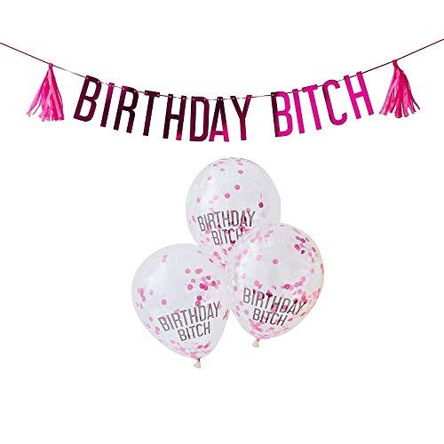 6 Teile Deko-Girlanden-Set Happy Birthday Bitch - Party-Deko pink Erwachsene-r Frau-en Jungendlich-e Teenie Mädchen / Geburtstags-Feier / Dekoration / Luft-Ballon-s & Girlande