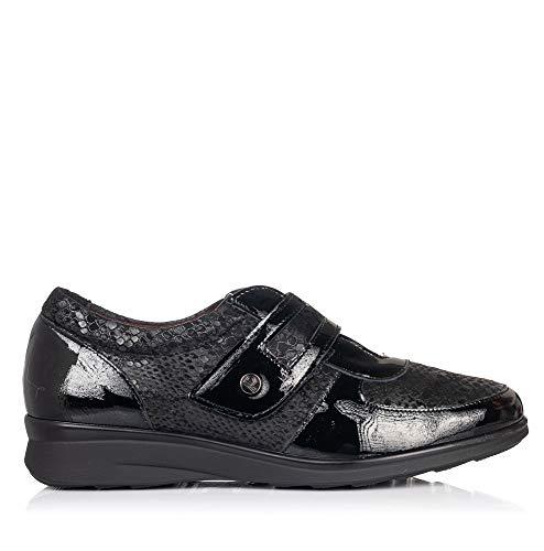 PITILLOS 5702 Zapato Velcro Piel Confort Mujer Negro 37