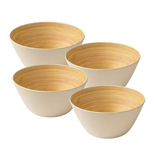 BIOZOYG 4 Stück Premium Bambusschale Elfenbein rund 460 ml I Bambus Geschirr Schüssel Müslischale Obstschale Holzschale Salatschüssel Dekoschale Suppenschale Servierschüssel