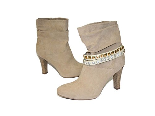 La Loria 2 Stiefelketten Scary Rock Stiefelbänder aus Echtleder Schuhschmuck Creme