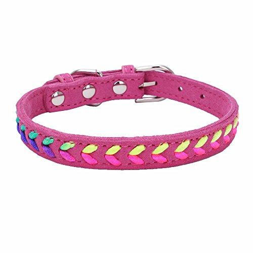Balock Schuhe Welpen Hundehalsband,Exquisite Einstellbare 7 Farbe Gewebt Hundehalsbänder,Pet Halsbänder für Mädchen Jungen (Hot Pink, XS) -