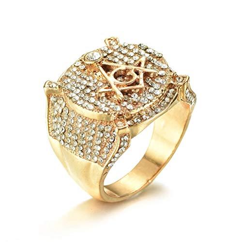 Wind Goal Golden AG Freimaurer Ring Simuliert Voll Diamant Ring Band Luxuriöse Freimaurerei Religion Ring Schmuck Für Männer Frauen (Ag Gold Halloween)