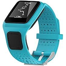 De repuesto suave silicona Gel correa de banda de reloj pulsera Deporte Pulsera para TomTom Multi Sport/Cardio GPS correa running Smartwatch (un tamaño), azul