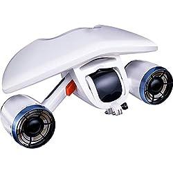 FEN&G Scooter sous-Marin, Explorateur Submersible Électrique Imperméable Double Vitesse Hélice Piscine De Plongée Jouets Natation Enfants Rechargeable Navigation Blanc