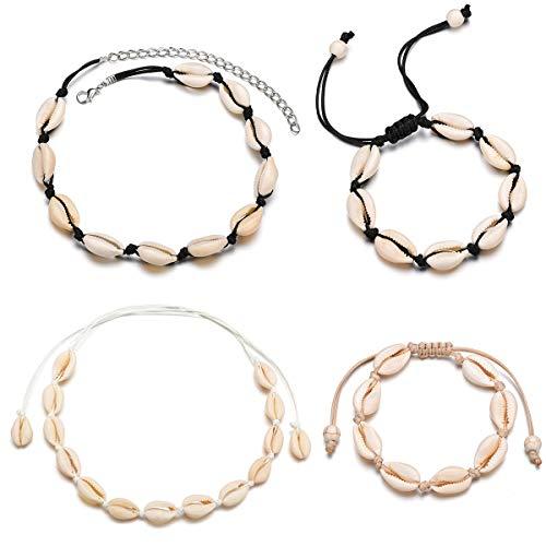 Vibury 4 Stücke Muschel Choker Armband, Shell Choker Halsketten für Frauen Einstellbare Handgemachte Hawaii Halskette Schmuck Set für Damen Mädchen