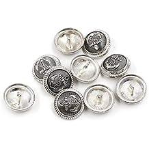 LuLyL - Lote de 10 Botones de Metal con diseño de Ancla Antigua, Hebilla Plateada