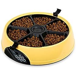 PETCUTE 6 Mahlzeit / Tag LCD Automatischer Haustier Hund Katze Lebensmittel Timer Futterautomat Automatischer Urlaub Verteiler mit Diktiergerät Gelb