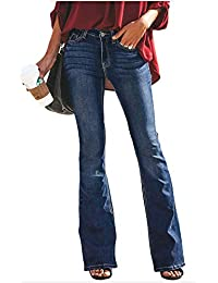 Huateng Donna Jeans a Zampa Pantaloni Pantaloni di Denim a Vita Alta  Elasticizzati dfcd2681ae1