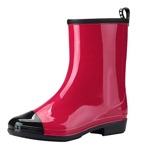 Wellies/Dorical Damen 20 cm Original Tall Gloss Waterproof Rain Regenstiefel Boots Gummistiefel 2.5 cm Blockabsatz Wasserdicht Stiefel Klassisch Freizeit Schuhe für Frauen 36-40 EU(Rot,38 EU)