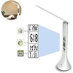 Pawaca LED Lampada da scrivania Lampada da Tavolo, Pieghevole Touch Sensitive Control Orologio con Allarme Display LCD Calendario USB Ricaricabile Lampada da Lettura con Protezione degli Occhi