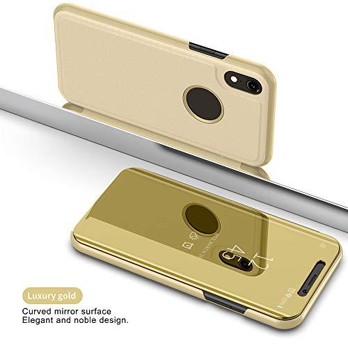 QINPIN Smart Clear View Spiegel Flip Leder Ständer Halter Hülle für iPhone XR Gold