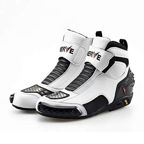 Stivali da Moto Vera Pelle Impermeabile Traspirante Stivali da Corsa Tempo Libero Sportivo Scarpe Corazzate Uomo Stagione 4 Scarpe da Ciclismo,Black+White-UK7.5/EUP42